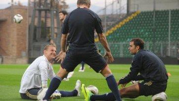 Тренировка сборной России по футболу перед матчем со Словакией.