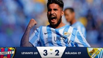 «Леванте» совершил камбэк в дуэли с «Малагой», но все равно вылетел из Кубка Испании