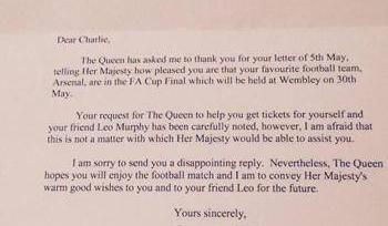 В Англии подросток написал Королеве и попросил ее купить билеты на финал Кубка