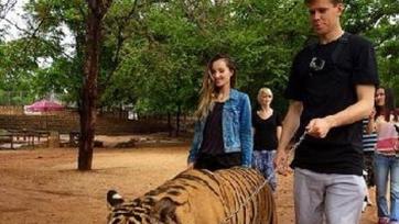Войцех Щенсны выгулял тигра