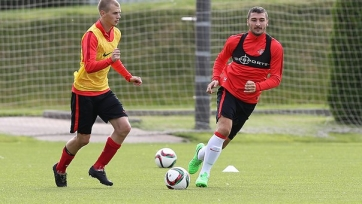 Данил Полубояринов тренируется с первой командой «Спартака»