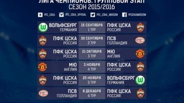 ЦСКА начнет выступления в группе Лиги чемпионов с матча в Германии