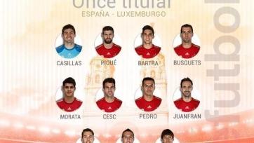 Стал известен стартовый состав сборной Испании на матч с Люксембургом