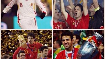 Сеск Фабрегас проводит сотый матч за испанскую сборную