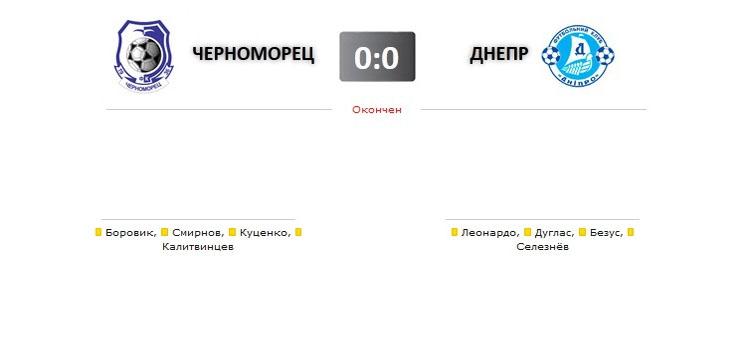 Черноморец - Днепр прямая трансляция онлайн в 15.00 (мск)