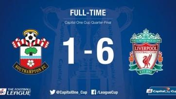 «Ливерпуль» унизил «Саутгемптон» в четвертьфинале Кубка Лиги