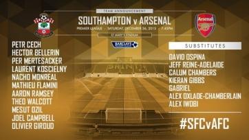 Стали известны стартовые составы матча между «Саутгемптоном» и «Арсеналом»