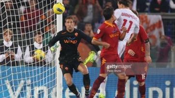 Златан Ибрагимович забивает свой второй гол в матче с Ромой в октябре 2011-го