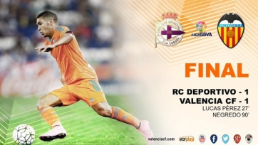«Валенсия» спаслась от поражения в Ла-Корунье на последней минуте