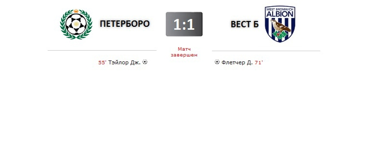 Питерборо Юнайтед - Вест Бромвич прямая трансляция онлайн в 22.45 (мск)