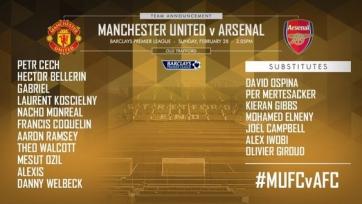 Стали известны стартовые составы «Манчестер Юнайтед» и «Арсенала»