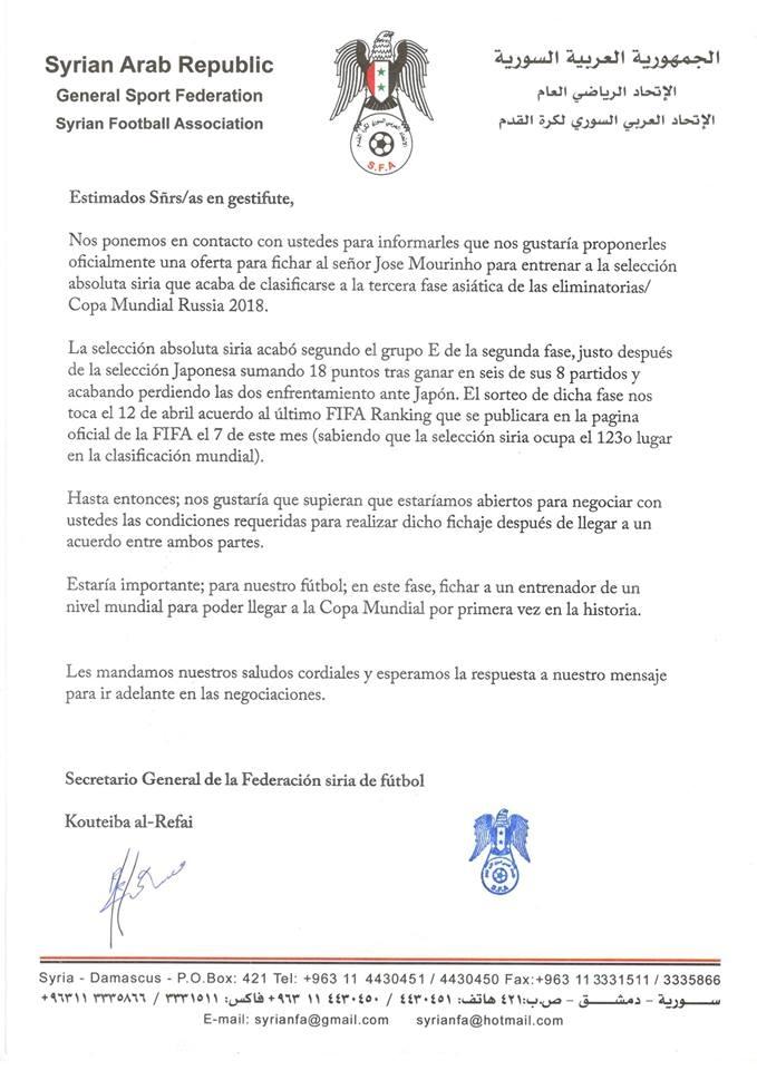 Жозе Моуринью получил предложение от сборной Сирии
