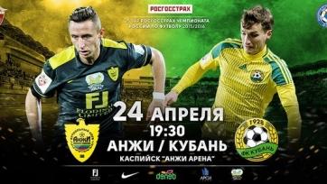 «Анжи» - «Кубань», онлайн-трансляция. Стартовые составы команд