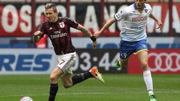 «Милан» трижды поразил ворота «Фрозиноне», но выиграть не смог