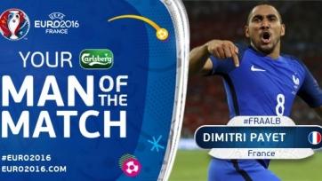 Димитри Пайе признан лучшим игроком матча между Францией и Албанией