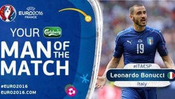 Леонардо Бонуччи – лучший игрок матча между итальянцами и испанцами