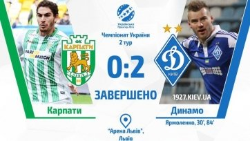 Дубль Ярмоленко принёс «Динамо» победу над «Карпатами»