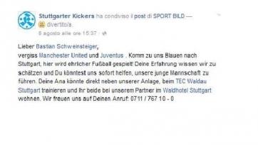 Клуб четвёртой Бундеслиги приглашает Швайнштайгера