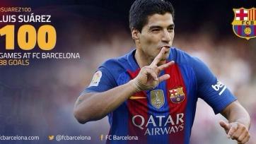 Луис Суарес провёл сотый матч за «Барселону» и поставил новый рекорд клуба
