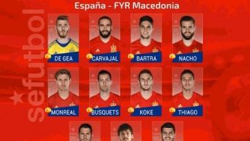 Испания – Македония, прямая онлайн-трансляция. Стартовый состав испанцев