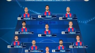«Селтик» - «Барселона», прямая онлайн-трансляция. Стартовый состав «Барсы»