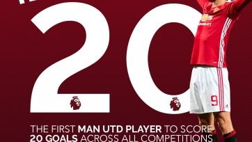Впервые за последние четыре года игрок «МЮ» сумел забить двадцать и более голов за сезон
