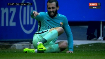 Алейш Видаль из «Барселоны» получил неприятную травму лодыжки