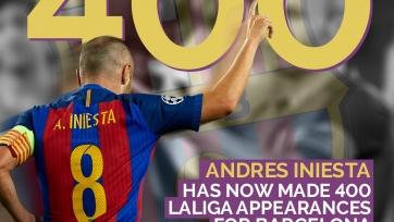 Андрес Иньеста проводит свой 400-й матч за «Барселону» в чемпионате Испании