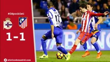 «Атлетико» с трудом спасся от поражения в матче с «Депортиво»