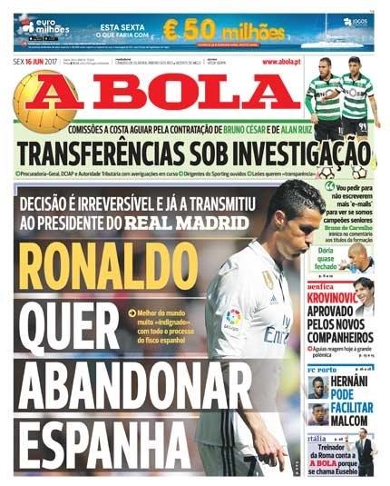 A Bola: Роналду решил покинуть «Реал» из-за обвинений о неуплате налогов
