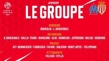 Головин и Фабрегас попали в заявку «Монако» на поединок с «Марселем»