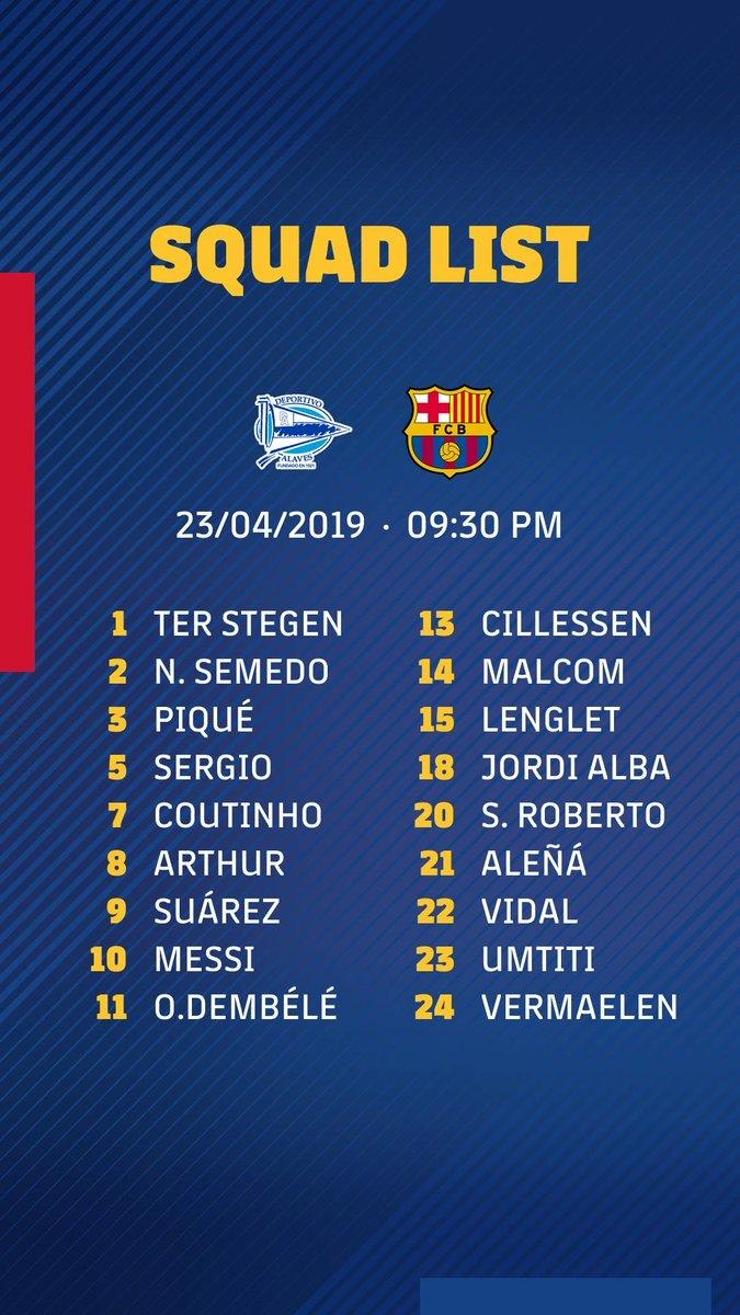 «Барселона»: заявка на матч с «Алавесом»