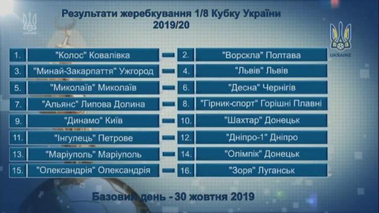 «Динамо» встретится с «Шахтером» в 1/8 Кубка Украины