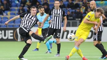 «Астана» уступила дома «Партизану», проиграв второй матч в Лиге Европы