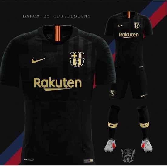 Выездная форма «Барселоны» на сезон 20/21 будет выполнена в черном цвете. Фото