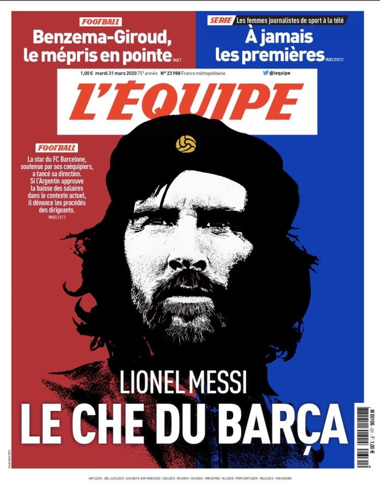 Барселонский Че: L'Equipe поместила Месси в образе Че Гевары. Фото