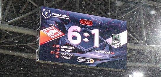 «Спартак» - «Краснодар» - 6:1. Обзор матча и видео голов