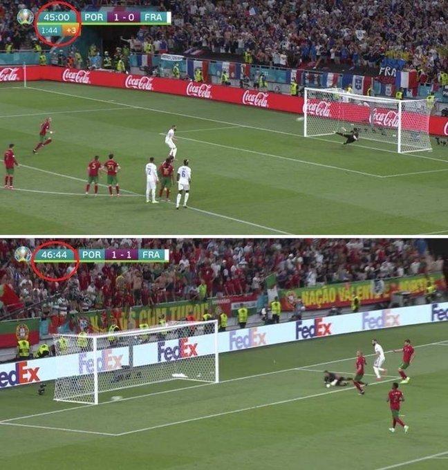 Удивительное рядом. Бензема забил два гола Португалии в одно и то же время. Фотофакт