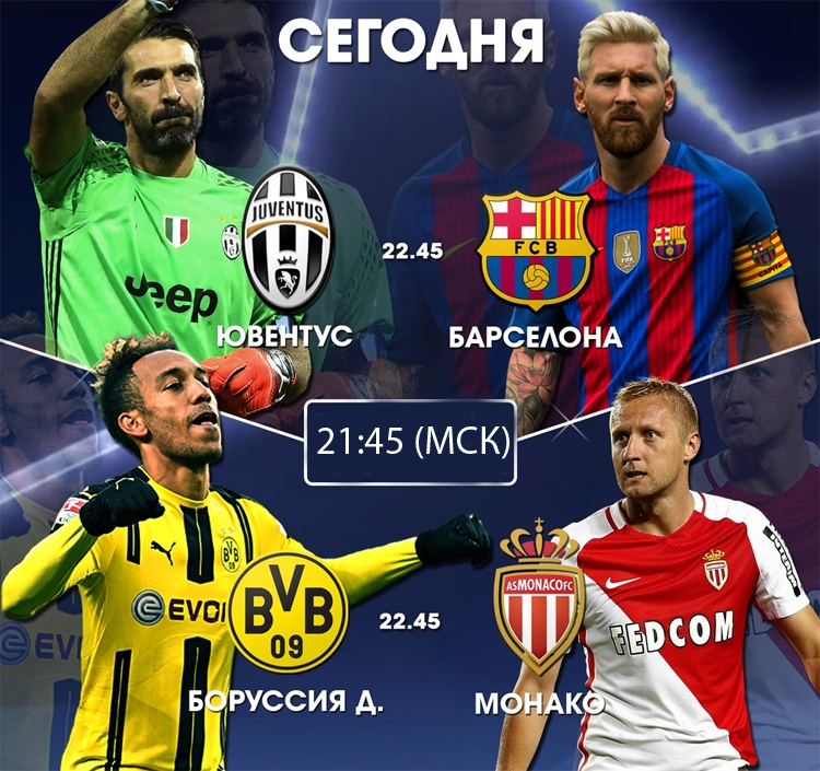 Футбол сегодня Лига чемпионов 11 апреля 2017 на «Матч ТВ» и «Матч